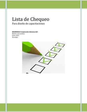 Lista de Chequeo para capacitaciones 2013.pdf - MASRENACE