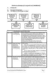 Planificación Estratégica de la segunda Fase de MASRENACE
