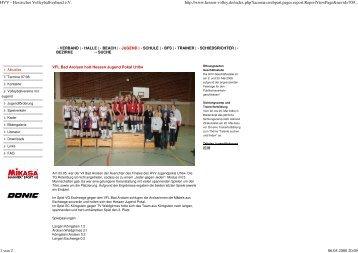 HVV - 06.05.2008 Volleyball Gewinn des ... - VfL Bad Arolsen