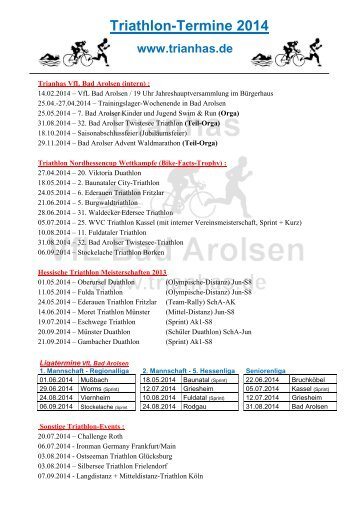 Terminplan Triathleten - VfL Bad Arolsen