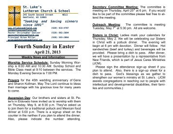 Fourth Sunday in Easter April 21, 2013 - St. Lukes Lutheran Church