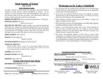 Sixth Sunday of Easter - St. Lukes Lutheran Church
