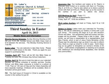 Third Sunday in Easter April 14, 2013 - St. Lukes Lutheran Church