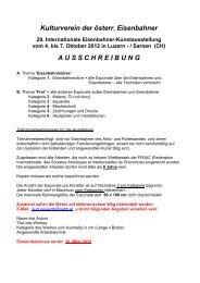 Kulturverein der österr. Eisenbahner A U S S C H R E I B U N G