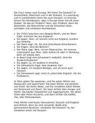 Sie (You) reisen nach Europa, Wo hören Sie Deutsch