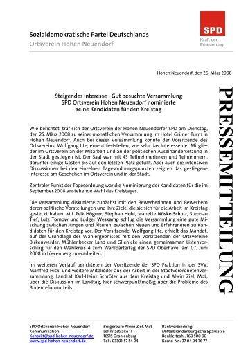 Pressemitteilung des Ortsvereines vom 26.03.2008 - SPD Hohen ...