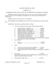 Cemetery Costs & Rules (pdf) - VILLAGE OF PLEASANT HILL, OHIO