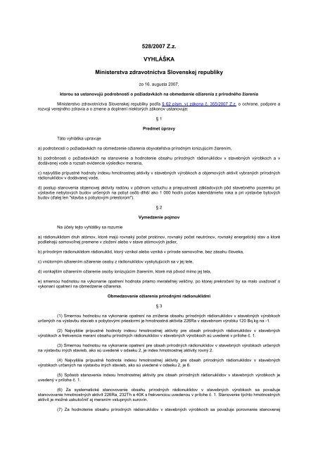 Vyhláška Ministerstva zdravotníctva SR č 528/2007 Z.z., ktorou sa ...