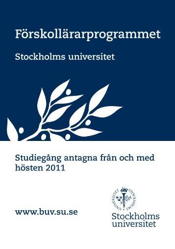 Förskollärarprogrammet - och ungdomsvetenskapliga institutionen ...