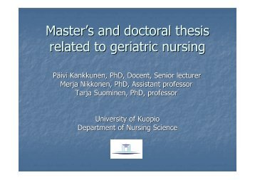 Master's and doctoral thesis related to geriatric nursing