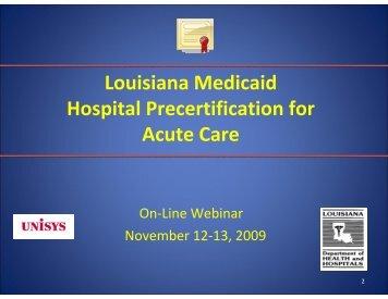 Louisiana Medicaid Hospital Precertification for Acute Care