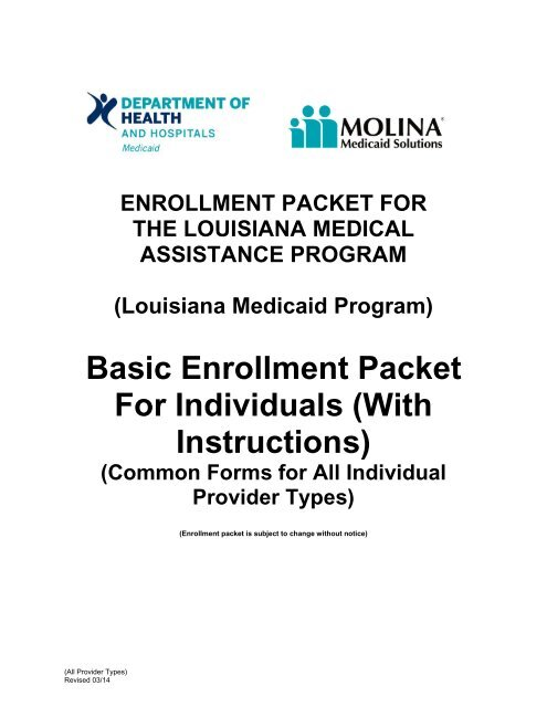 Basic Enrollment Packet For Individuals - Louisiana Medicaid