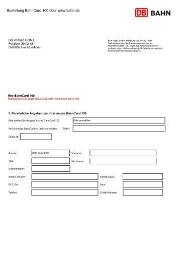 Bestellung BahnCard 100 über www.bahn.de