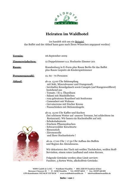 Beispiel Fur Eine Hochzeitsfeier Startseite Waldhotel Wandlitz