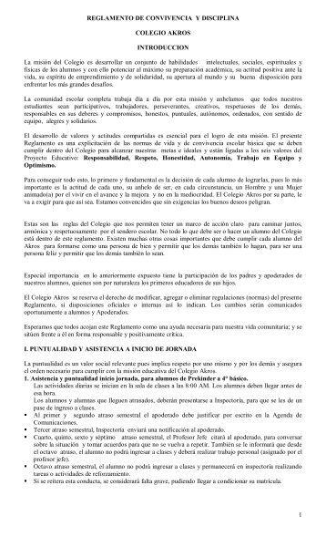 1 REGLAMENTO DE CONVIVENCIA Y DISCIPLINA ... - Colegio Akros