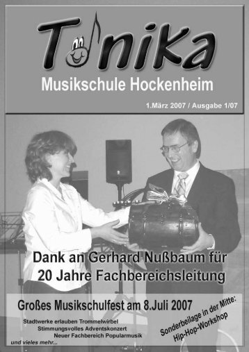 """Tonika"" Ausgabe 1/07 - Musikschule Hockenheim"