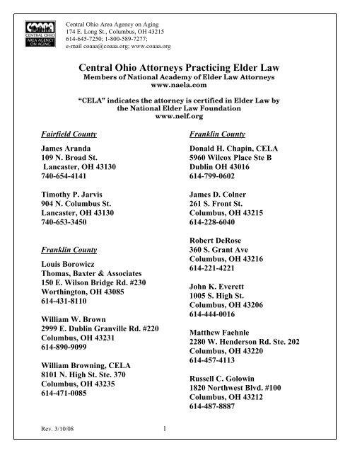 Central Ohio Attorneys Practicing Elder Law – COAAA