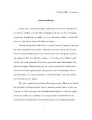 Evaluation Paper Assignment Final Group Project Sixteen weeks ...