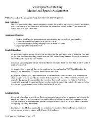 Memo rrzed Speech Assignments - Speechsuccess.net