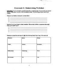 Homework #1 : Brainstorming Worksheet - Speechsuccess.net
