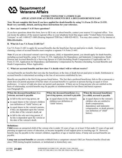 INSTRUCTIONS FOR VA FORM 21-601     - VeteranAid org