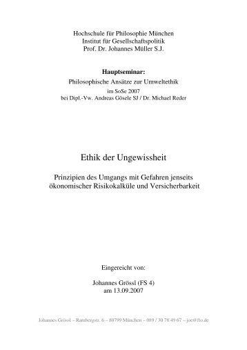 Ethik der Ungewissheit - Johannes Grössl