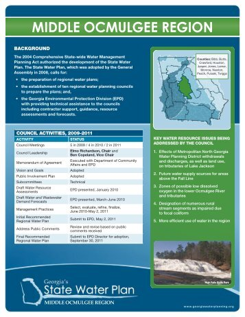 MIDDLE OCMULGEE REGION - Georgia's State Water Plan