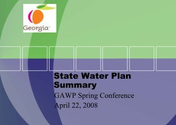 State Water Plan Summary - Georgia's State Water Plan