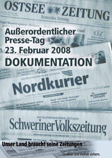 Dokumentation des Außerordentlichen Presse-Tages - Qualität und ...