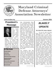 Autumn 2004 newsletter.pub - Maryland Criminal Defense Attorneys ...