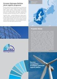 Projekto tikslai Europos Sąjungos Baltijos jūros regiono programa