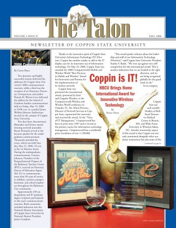 The Talon Vol. 1 Issue 2 - Fall 2006 - Coppin State University ...