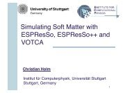 Introduction to Soft Matter Simulations - ESPResSo