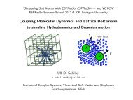 Hydrodynamics with ESPResSo - Lattice Boltzmann