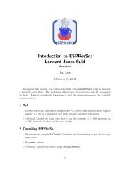 Intoduction to ESPResSo: Lennard-Jones fluid
