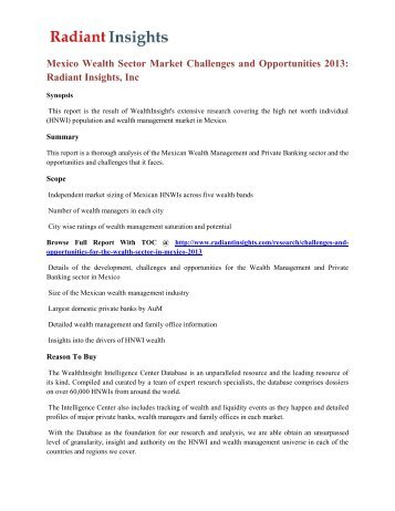 Mexico Wealth Sector Market Challenges and Opportunities 2013 Radiant Insights, Inc