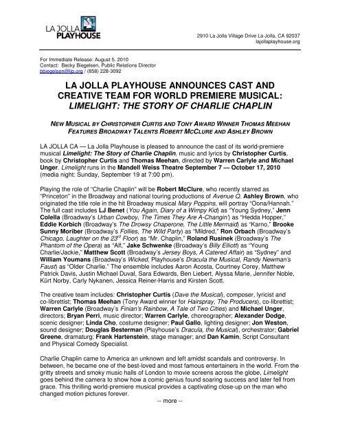 Limelight Casting La Jolla Playhouse