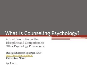 What Is Counseling Psychology? - Society of Counseling ...