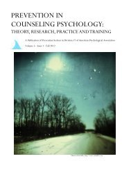 PREVENTION IN COUNSELING PSYCHOLOGY: - ResearchGate