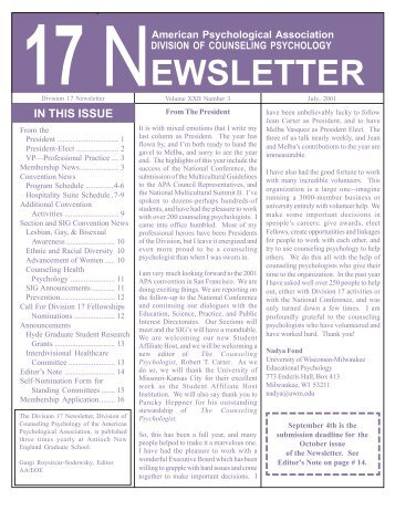 July 2001 - Society of Counseling Psychology, Division 17