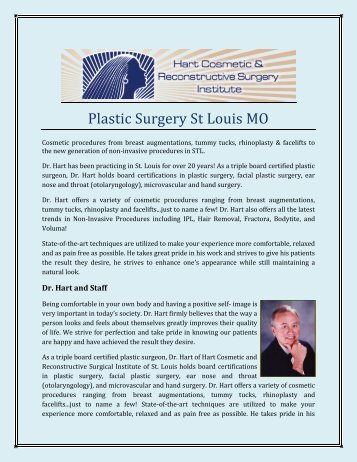 Plastic Surgery St Louis MO