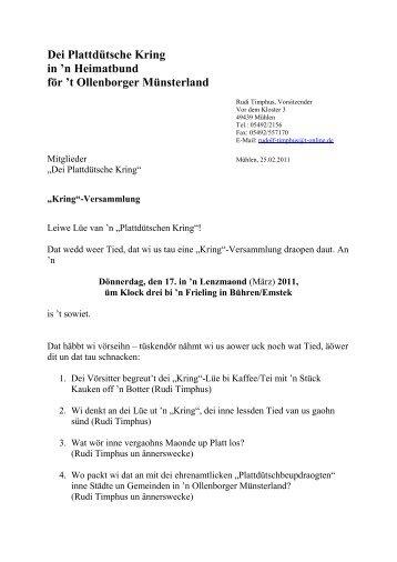 Dei Plattdütsche Kring - Heimatbund für das Oldenburger Münsterland