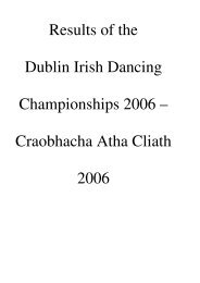 Results of the Dublin Irish Dancing Championships 2006 ...