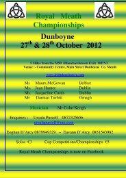 Royal Meath Championships Dunboyne 27 & 28 October 2012