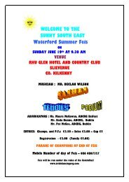 WELCOME TO THE SUNNY S0UTH EAST Waterford Summer Feis