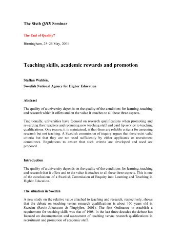 Teaching skills, academic rewards and promotion - Quality ...