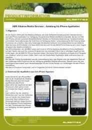 AMS Albatros Mobile Services – Anleitung für iPhone-Applikation
