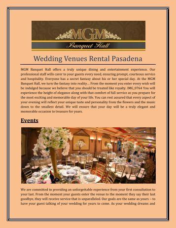 Wedding Venues Rental Pasadena