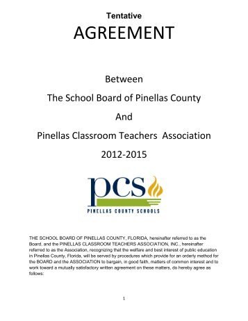 AGREEMENT - PCSB Newsroom - Pinellas County Schools