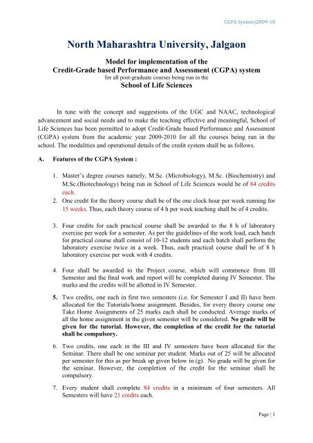 CGPA system - North Maharashtra University